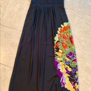 Kensie Dresses - Kenzie Black Silk Maxi Sundress